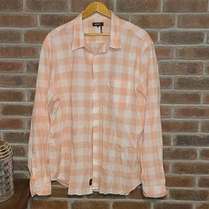 🍁DKNY Coral Colored Checkered Shirt🍁
